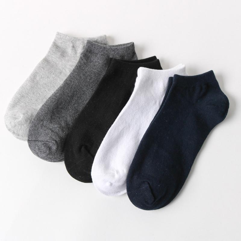 Calcetines para hombres 5 pares / lote primavera verano hombres algodón tobillo para negocio Casual colores sólidos cortos zapatillas de calcetines de macho 2021