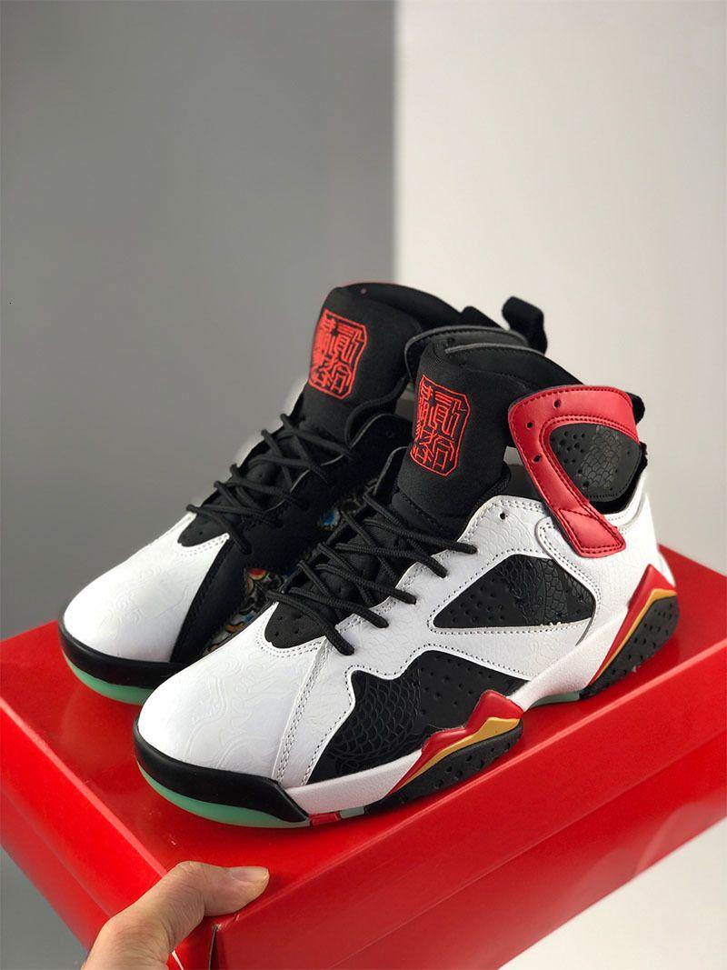 7 GC China Blanco Chile Red Black Mujeres Hombres Zapatos de baloncesto Deportes Sneaker Dragón Motif Metallic Gold Bordado Entrenador de Jumpman