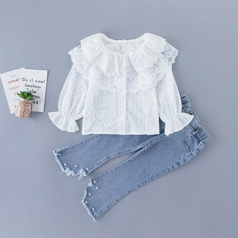Menoea 3-7Y Kızlar Giyim 2020 Kız Casual Giyim Çocuk Sevimli Dantel O-Yaka T-shirt ve Denim Pantolon Suit Zarif Giyim Suits nm8G #