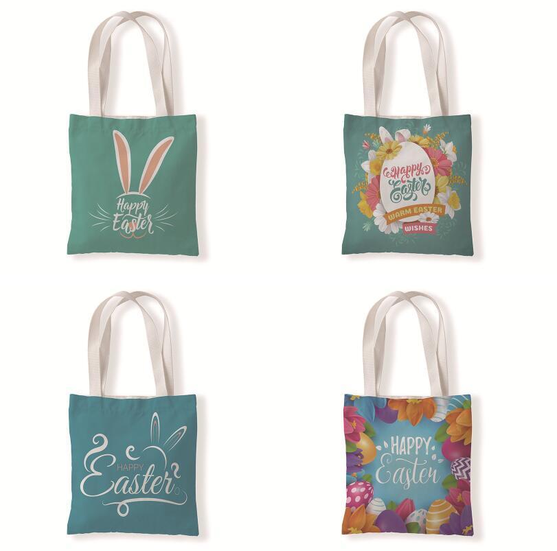 Fröhliche Ostern Canvas Tasche Wiederverwendbare Lebensmittelgeschäft Leinwand Einkaufstasche Für Frauen Ostern Kaninchen Ei Gedruckt Einkaufstaschen PPA3520