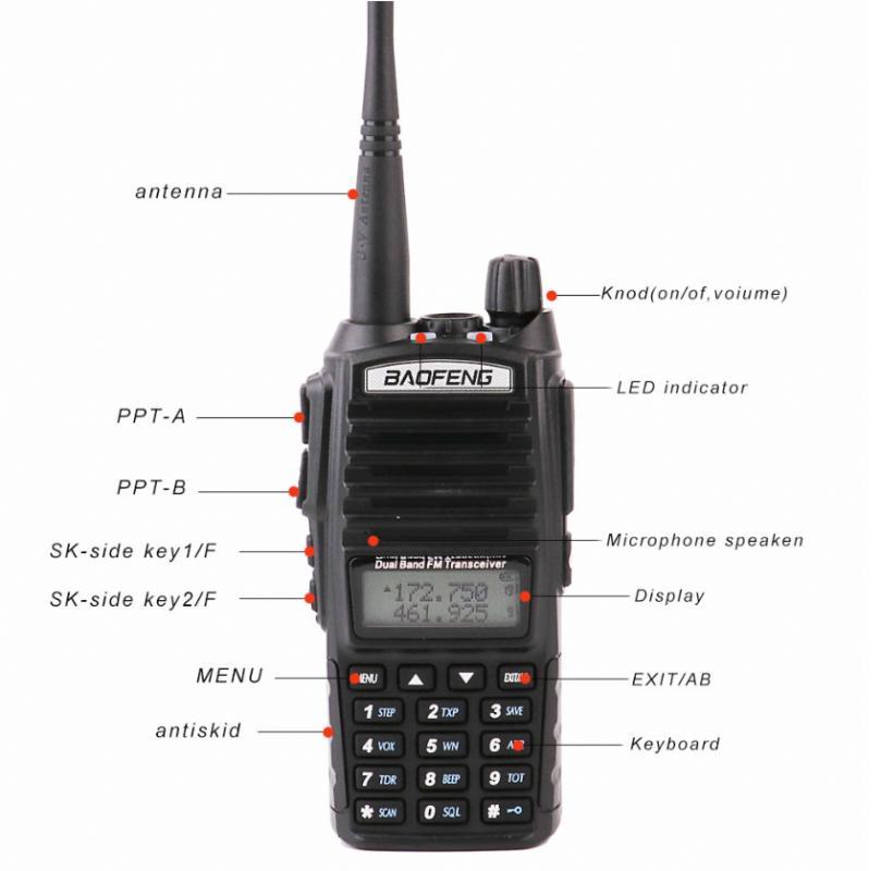 2PCS / SET Baofeng UV 82 100% original portátil Two Way Radio BF UV82 dupla PRadios BAOFENG 8W Handheld Walkie Talkie UV82 2020