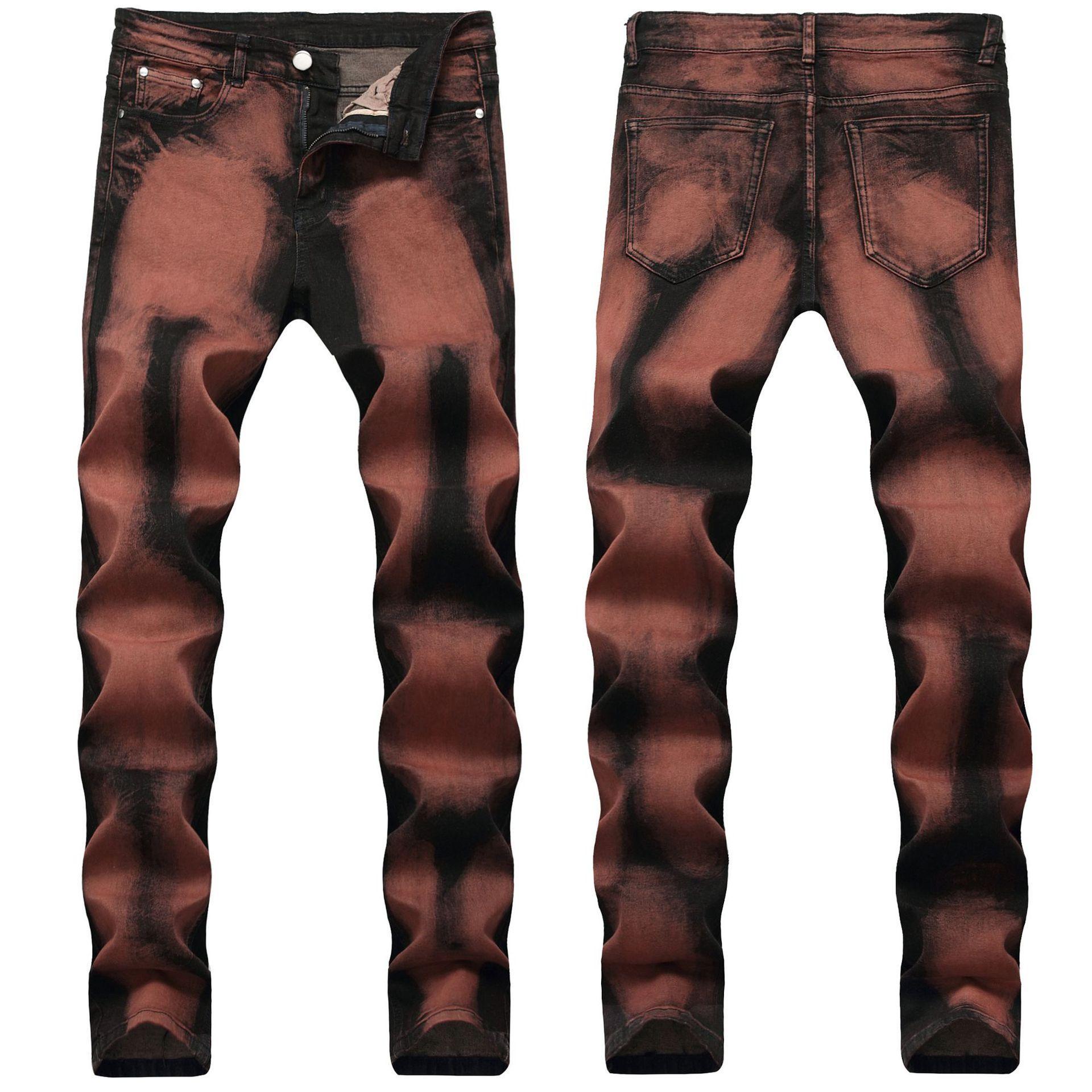Sıska Erkek Kot Serin Erkekler Kot Streç Slim Fit Düz Denim Biker Jeans Hip Hop Erkekler Streetwear 1603 #