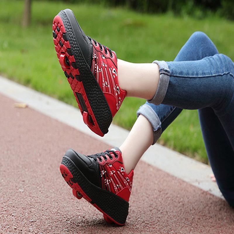 New Children Roller Skate Shoes Boys Girls Automático Jazzy Flashing Heelies Spord Kids Sneakers con una / dos ruedas Zapatillas Y190523