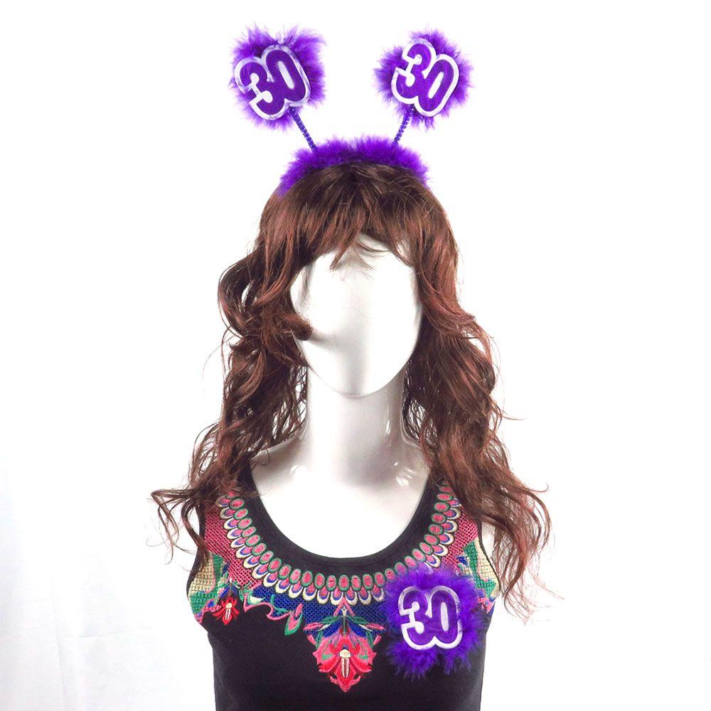 6sets de Purple DIY decoração do partido Headband conjunto broche 21 30 40 50 anos da princesa brilho tecido pena presente decoração para meninas