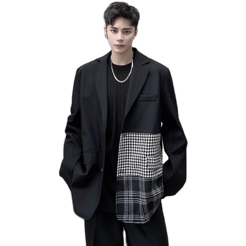 Männlich Japan Korea Street Vintage-Klage-Mantel-Oberbekleidung Männer Plaid Splice Retro beiläufige lose Anzug Blazer Jacke