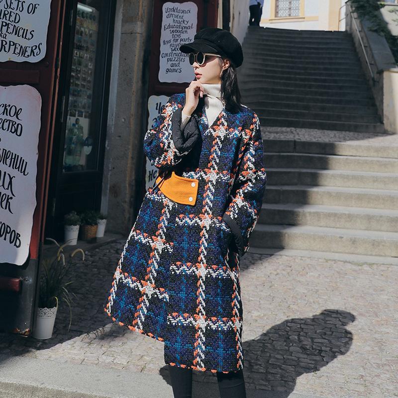 Lanmrem Sonbahar ve Kış Moda Ekose Sıcak V Yaka Tüm Maç Yün Ceket kadın Orta Uzunlukta Üstü-Diz Gevşek Ceket 2A905 201103