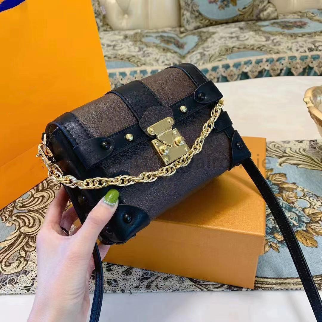 Luxo Designers Bag Moda L Womens Flap Bead Crossbody 2021 Nova Lona Impresso Bolsa Senhoras Correntes de Ombro Bolsa Mini Tronco Sacos