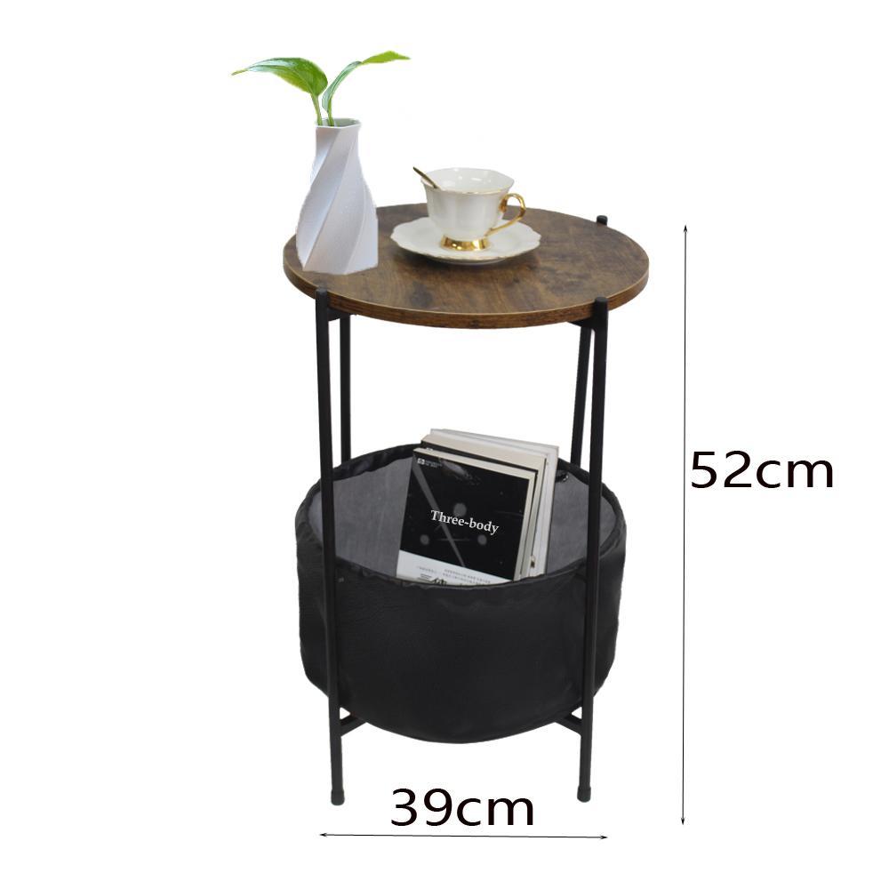 WACO 24 pouces petit bout Side Table avec tissu Panier de rangement, rond industriel Table de chevet Accent, en bois rustique Top Noir Frame Métal