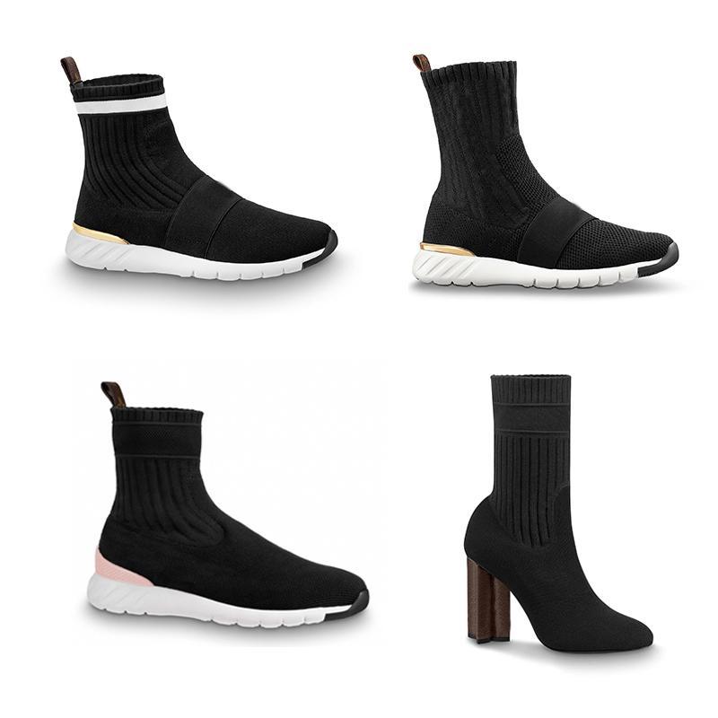 Diseñador tentativa de desquitarse zapatilla de deporte de las botas de las mujeres pega los zapatos del tobillo Martin botas de tacón alto estiramiento velocidad botines silueta tobillo Zapatos de invierno