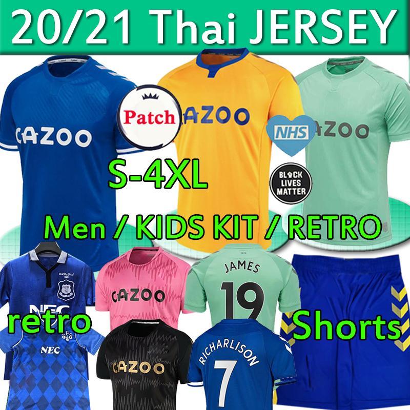 2020 20220 2021 toffees كرة القدم جديد الفانيلة # 19 جيمس الرجال أطقم أطفال مجموعات قميص كرة القدم # 7 ريتشارلي كين ديفيز زي 1987 88 94 95 الرجعية