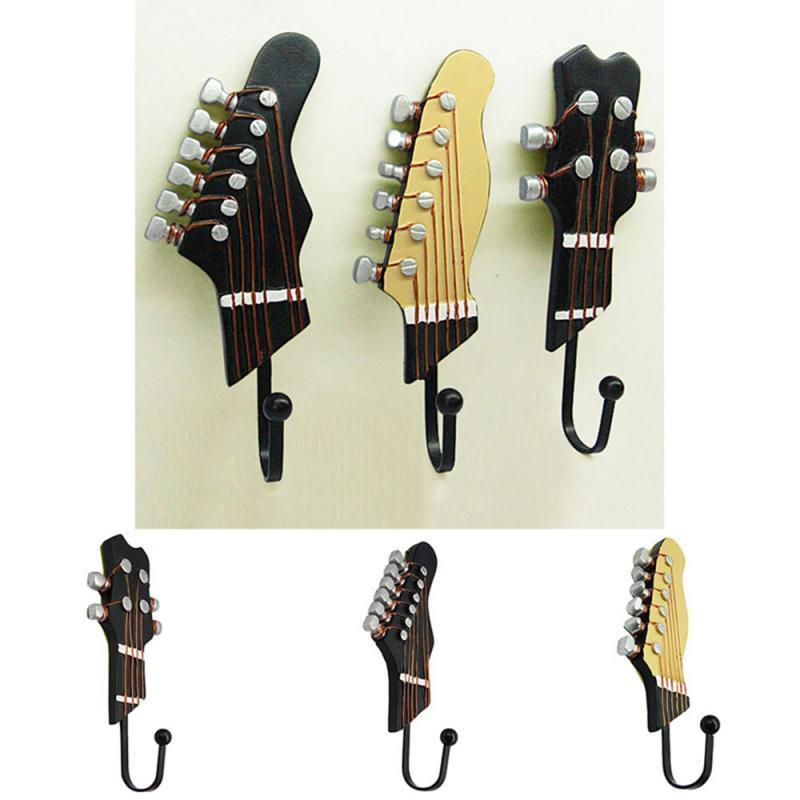 3 stücke / set retro gitarre kopfhaar haken kleidung hut schlüsselhalter wandschlüssel aufhänger wand montiert haken wohnzimmer lagerständer