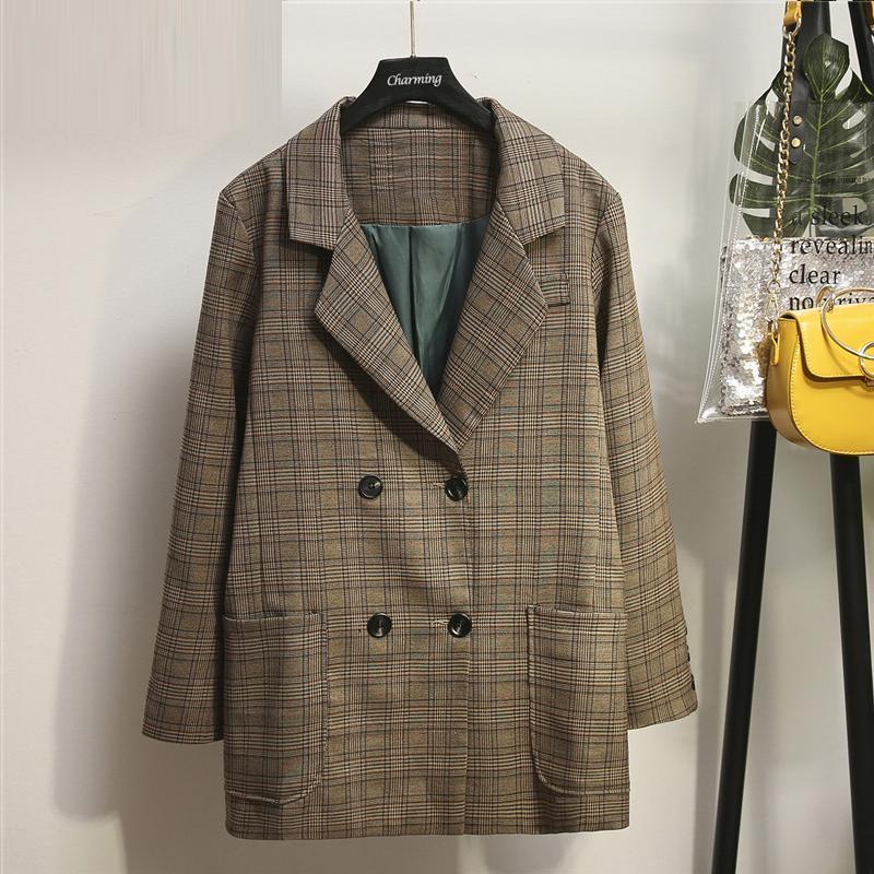 Fashion Plaid Office Lady Grand Automne Mille Bird Casual Kaki XL-5XL Poches de taille Poches de manteau pour femmes