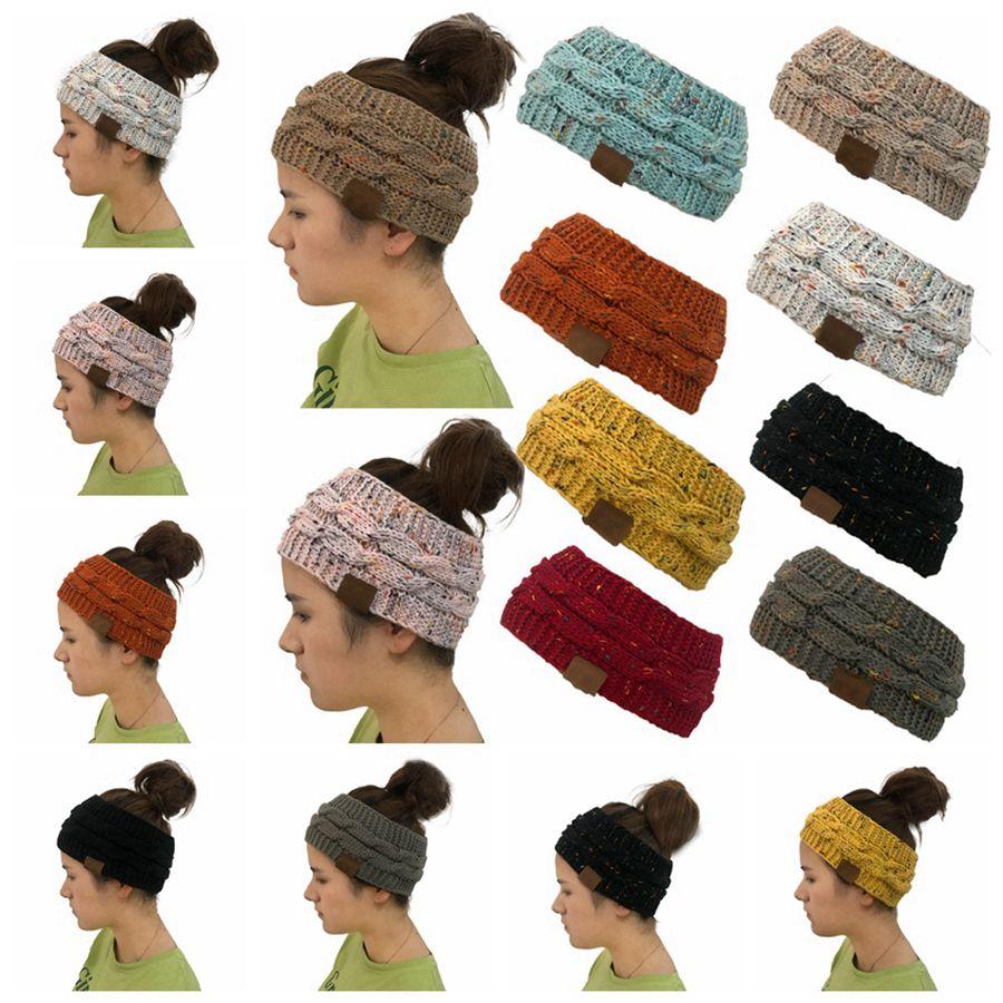 Coloré Tricoté Ponytail Chapeaux Hairband Crochet Twist Bandeau oreille hiver chaud bande élastique large cheveux Accessoires cheveux Party Favor RRA3732