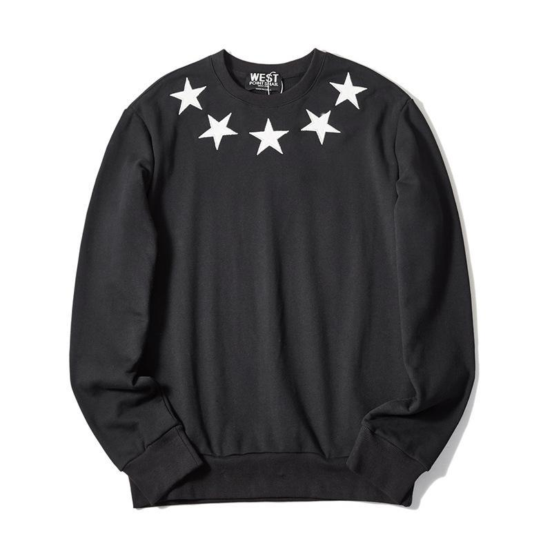 2020 Inverno Mens Hoodies Estrelas bordado cheio Moletons Men Casual velo Streetwear O pescoço solto Hoodie Sudaderas Hombre W11