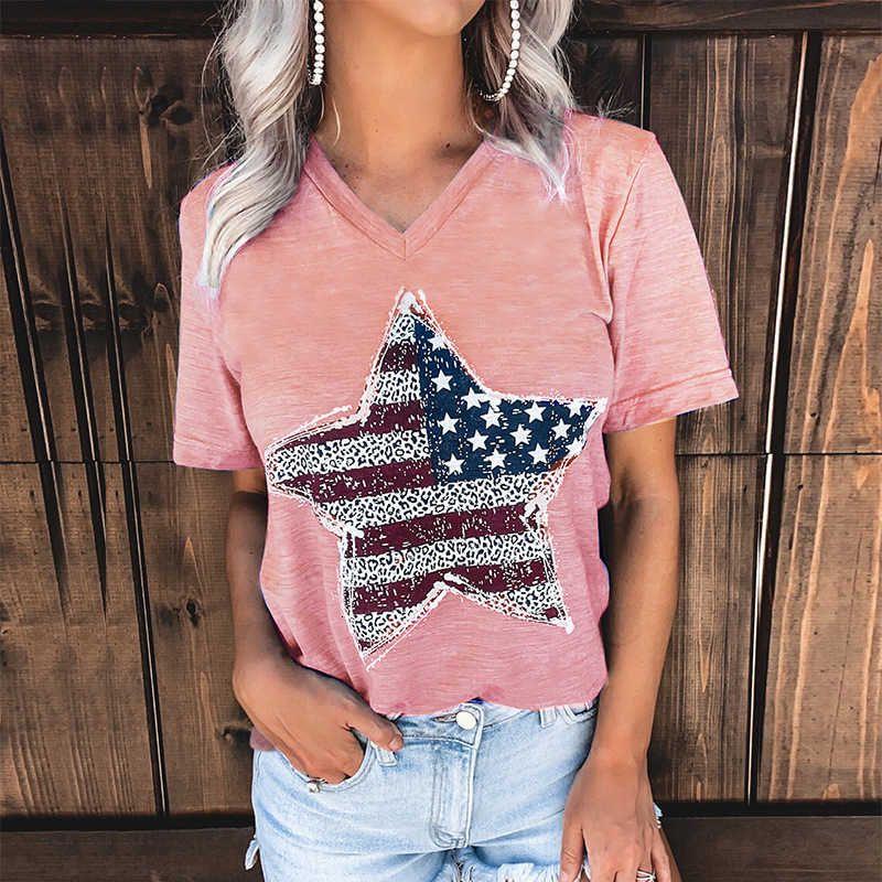 2021 Весна и Лето Новые Женские V-образные вырезывающие печать Верх Корочечная футболка для женщин