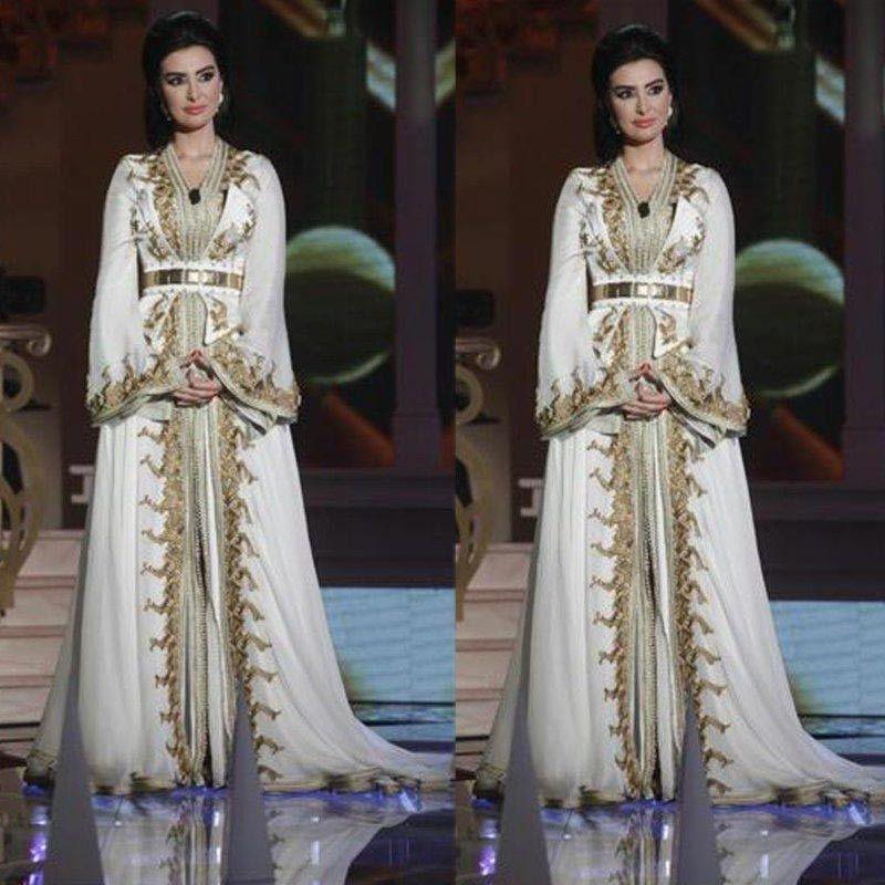 Moroccan Caftan Kaftan Dubai Abaya Árabe manga comprida Vestidos surpreendente ouro bordado V-neck ocasião Prom Vestido formal