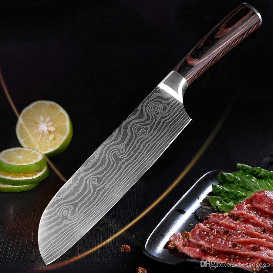 7-Zoll-Chefmesser-Nachahmung Damaskus-Stahl-scharfer Kleber Sushi-Messer Holzgriff fließende Sandwelle Muster Küchenfleischmesser DH1472 T03