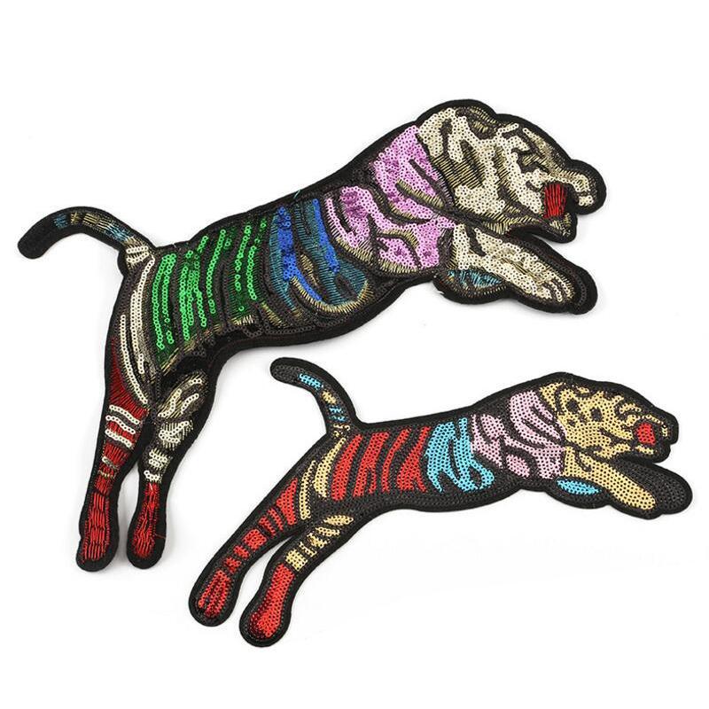 Patches de alta calidad Insignias de costura para tela Tiger Sytle Tendent Patches Applique Accessories para parches de lentejuelas de vestir