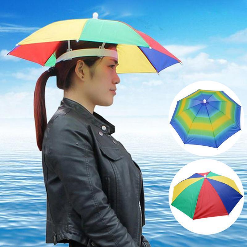 MoneRffi plegable lluvia artes de pesca Sombrero Sombreros Paraguas de Pesca Senderismo Cap Beach Head Sombreros acampar al aire libre