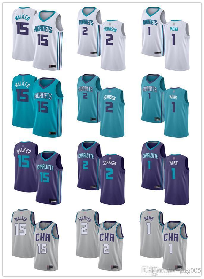 Ncaa mens bayan gençlikCharlotteHornets15 Kemba Walker 1 Malik Monk 2 Larry Johnson Yeşil Beyaz Mor Özel Basketbol Jerse