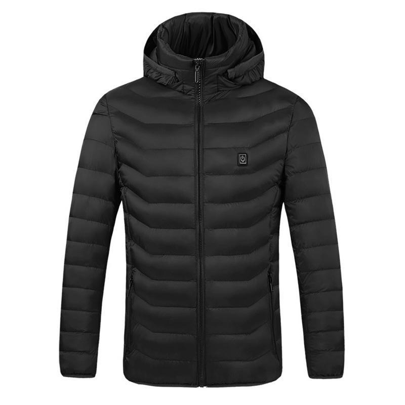 Uomo Elettrico Giacche riscaldata Down Cotton Cappotto esterno USB Riscaldamento elettrico Riscaldamento elettrico con cappuccio inverno Giacche invernale invernale YS-Acquisto