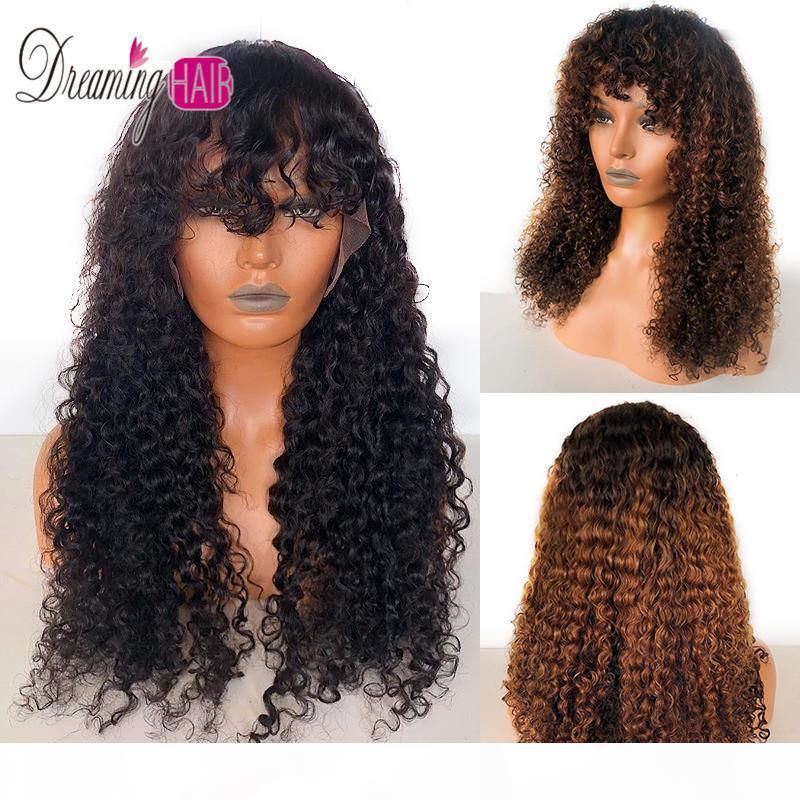 13x6 Ombre Curly Spitze-Front-Menschenhaar-Perücken mit Pony Pre Zupforchester Glueless Perücke mit Baby-Haare für schwarze Frauen Träumen Haar