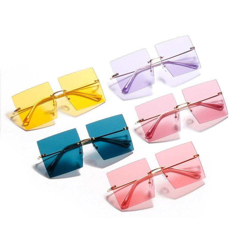 Marca Moda de gran tamaño Gafas de sol Plaza Mujeres Multicolor Océano Lente de moda Gafas de sol Rimless Sombras Para Mujeres Conduciendo Eyewear