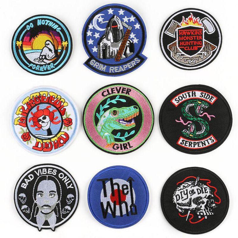 Parches redondos Estilo de tendencia Aplique Stickers Pegatinas Costura para tela Aplique Ropa Pegatinas Plancha en Ropa Bordado Parches