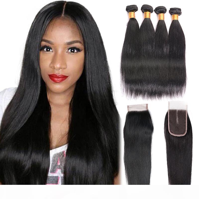 7A Grade brasilianische gerade reine Haar 4 Bündel mit Closure Natural Color 100% Remy Menschenhaar-Bündel mit Closure