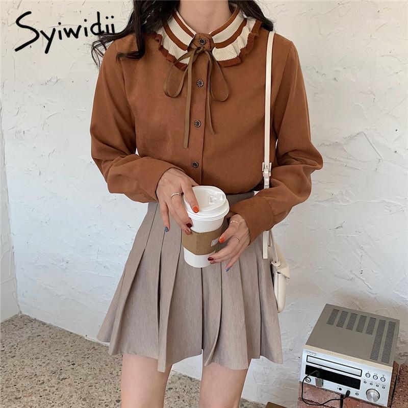 Syiwidii женские топы и блузки рюкзали лук лоскутное старинное винтаж хараджуку женские рубашки женская рубашка 2020 мода новый бежевый Coffee1