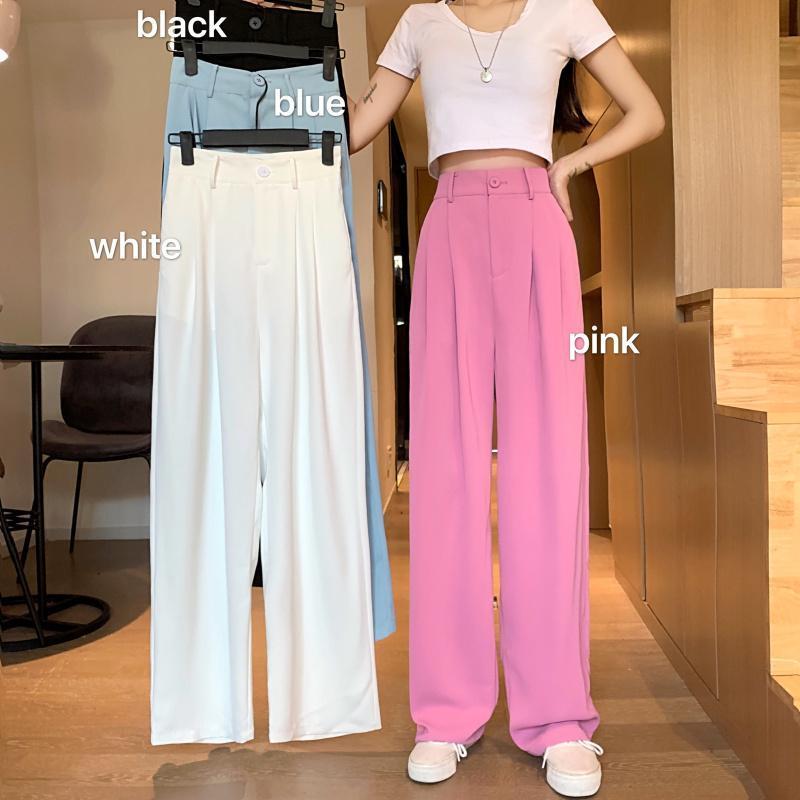 Traje pantalones ocasionales de las mujeres del verano delgada Negro Amplio altas polainas de la cintura los pantalones rectos Nueva pantalones holgados dulce señora Girl Estudiante