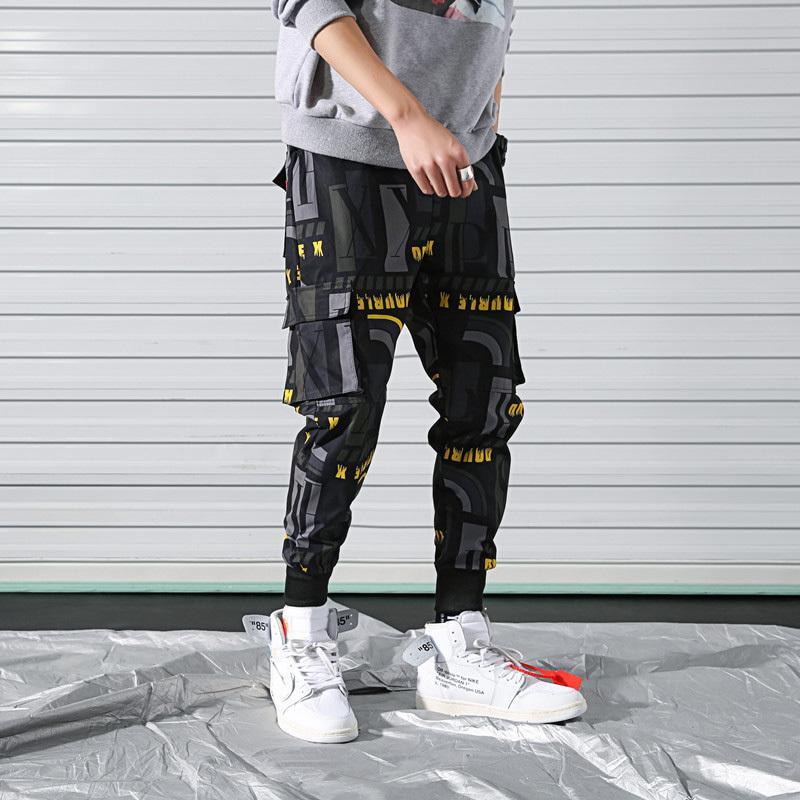 2021 as novas calças moda rua tendência hip-hop masculino impresso seção fina calça de verão novo eqcj