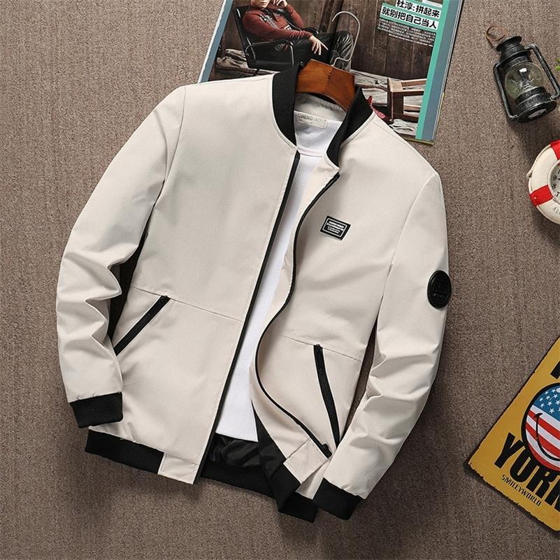 Summer Hommes Veste Stand Col à manches longues Mâle Bombardier Zipper Jacket Slim Fit Fit Solid Haute Qualité Taille M- Dropshipping LJ201013
