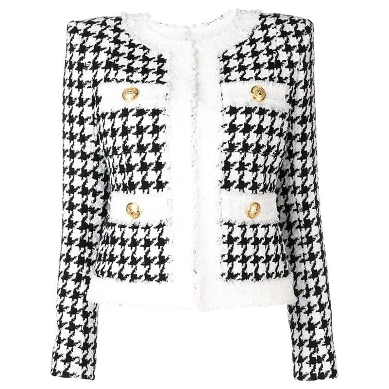 Chaqueta de diseño barroco de invierno más reciente de alta calidad de la chaqueta de diseño de las mujeres con cremallera con cremallera de la chaqueta con flecos de la chaqueta de tweed 201112