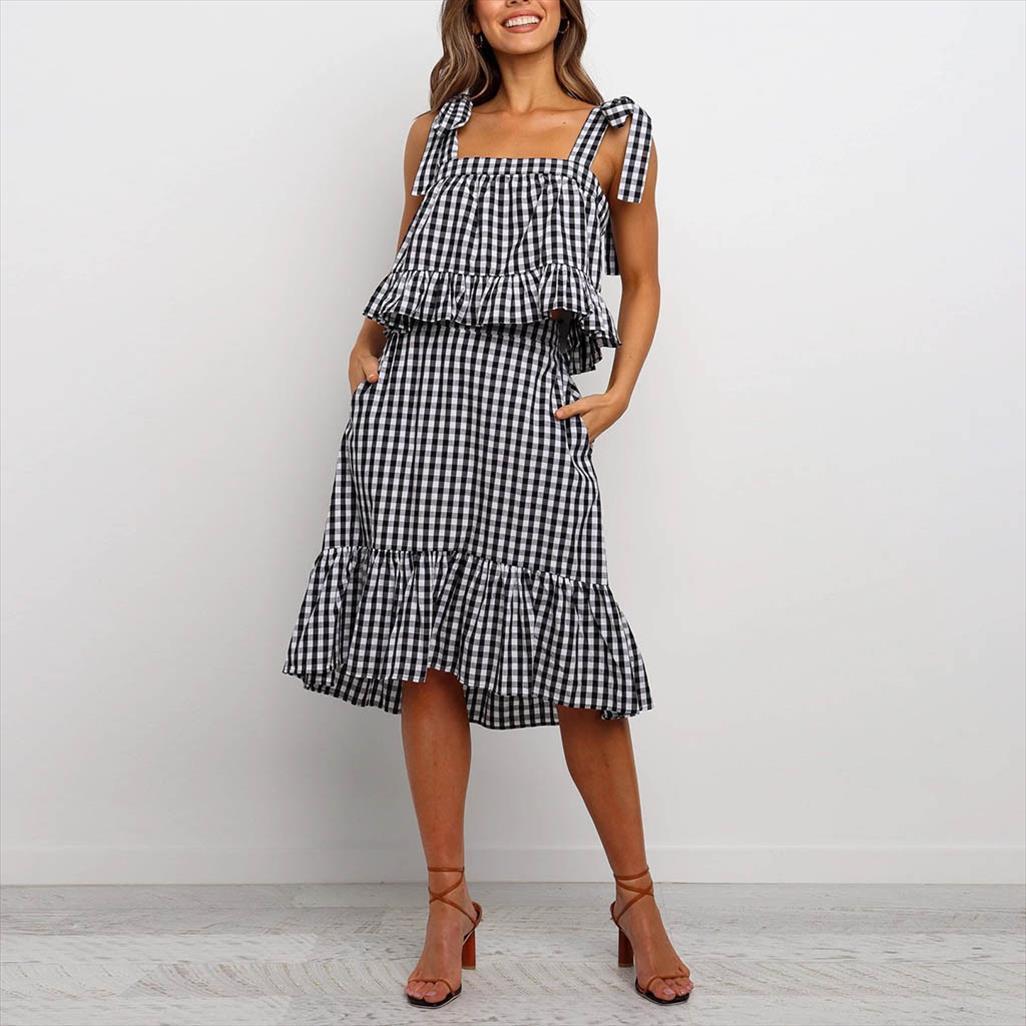 Stripe Два Piece Set лета женщин Линия Sundress с коротким рукавом Блузка Женщины Сыпучие женщин Tracksuit Комплект юбка и топ G3