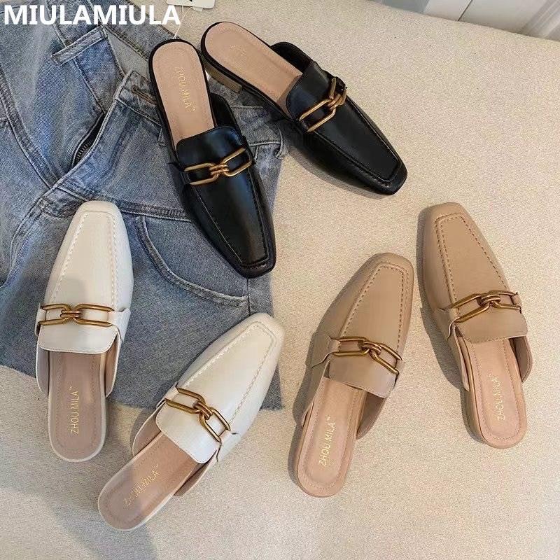 2020 Новая мода роскошь металлическая цепь плоские кожаные горки женские тапочки дизайнерские туфли скольжения на мокасины мулами шлепанцы на улице X1020