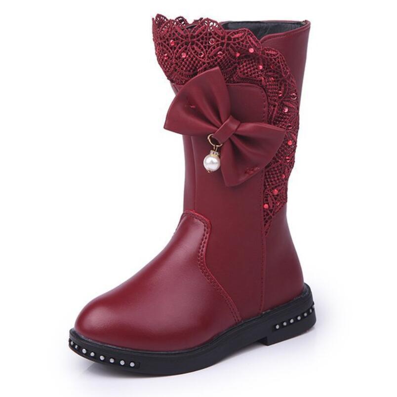 Sonbahar Kış Yeni Çocuk Çizmeler Kızlar Martin Çizmeler Çocuk Yüksek Papyon Ayakkabı Kızlar Prenses Elbise Çizmeler Büyük Çocuk Ayakkabı Boyutu 27-37x1024