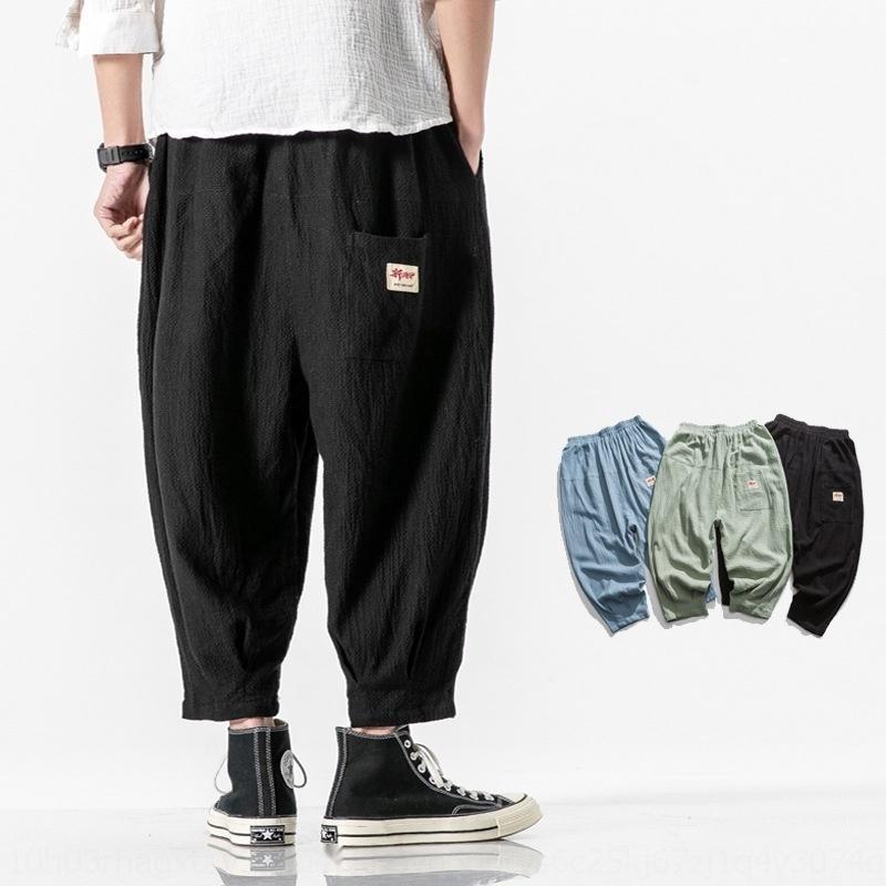 Primavera ed estate 2020 Capris casuale moda collage di tela di lino cotone canapa cotone pantaloni da uomo uomini elastiche stile cinese delle nuove PizwI