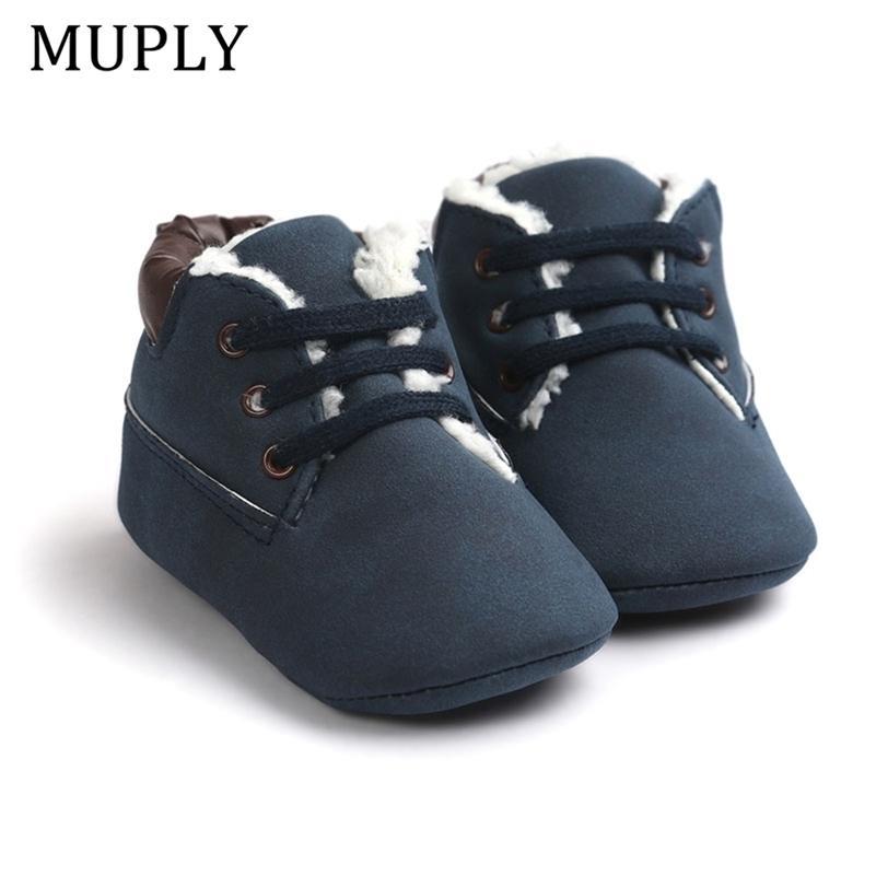 Новые повседневные зимние классические детские дети поддерживают теплые первые ходунки обувь кроватки детские кроссовки мягкие одольные высокие верхние сапоги 201222