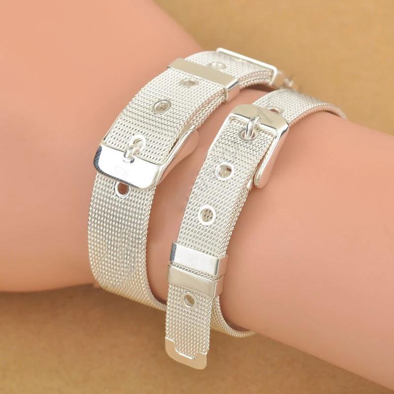 Moda Cintura Pure Design 925 Sterling Silver Jewelry fine del braccialetto del Top Quality 2 taglie Donna Uomo