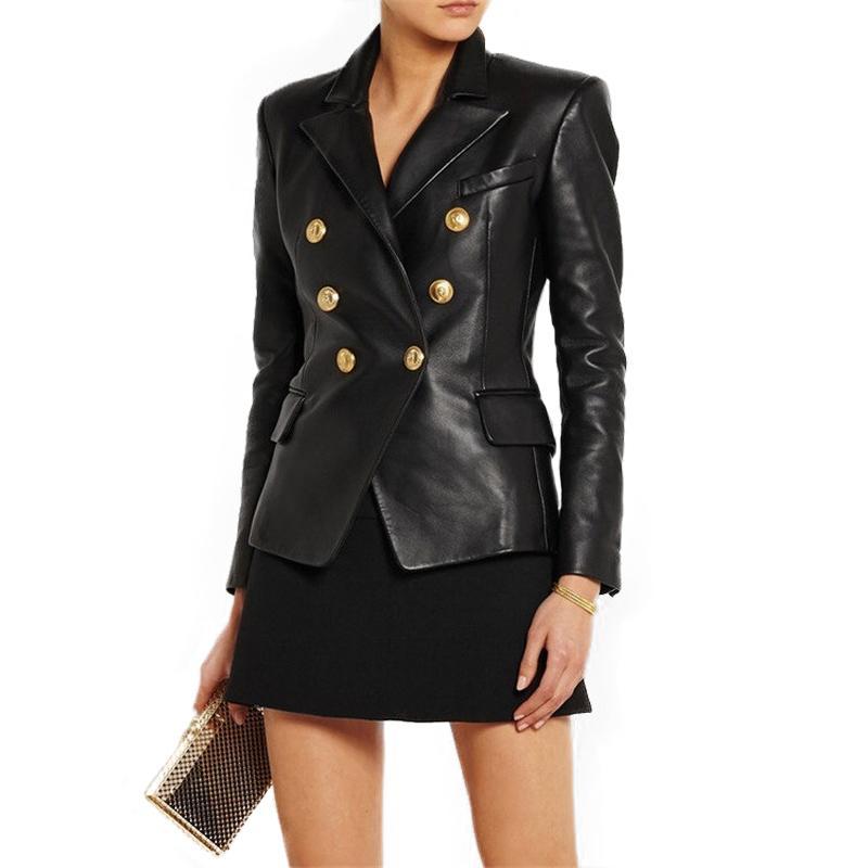 100% Genuine Leather Jacket Women Double-breasted Motorbiker Female Real Sheepskin Jacket England Genuine Leather Coat for Women 201020