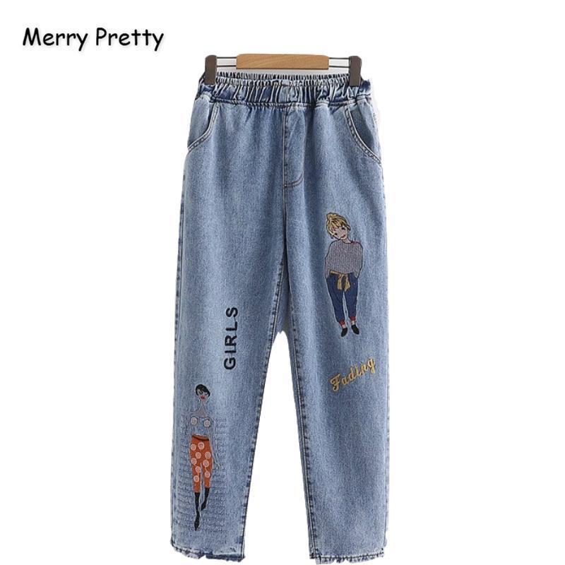 Feliz Mujer Vaqueros Pantalones Bastante carácter bordado Harajuku Pantalones vaqueros 2020 Invierno elástico de la cintura bolsillos Jean recto