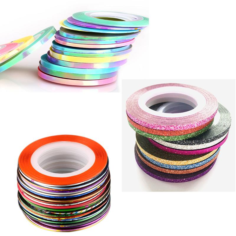 30Pcs Mixed Colorful Rolls Striping Decals Foil Matte laser Mermaid Tips Tape Line DIY Design Nail Art Stickers for nail art Decoration