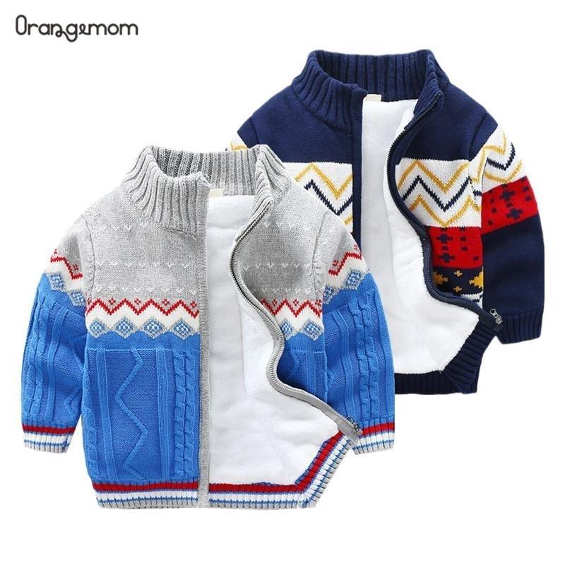 Бренд детский свитер зима - весенние детские вязаные свитера для мальчиков кардиган толстый ребенок куртка бархат выстроился серый и голубой пальто 201201