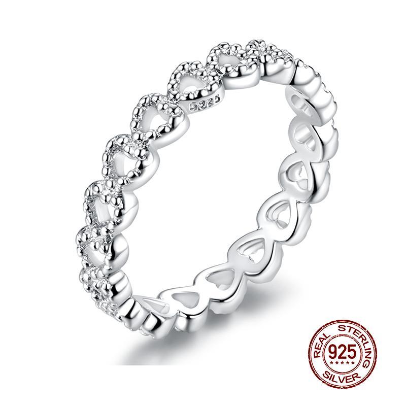 Wostu Venta Caliente 100% 925 Estilos de plata esterlina Anillo apilable Anillos de boda para mujeres Regalo de joyería de moda original