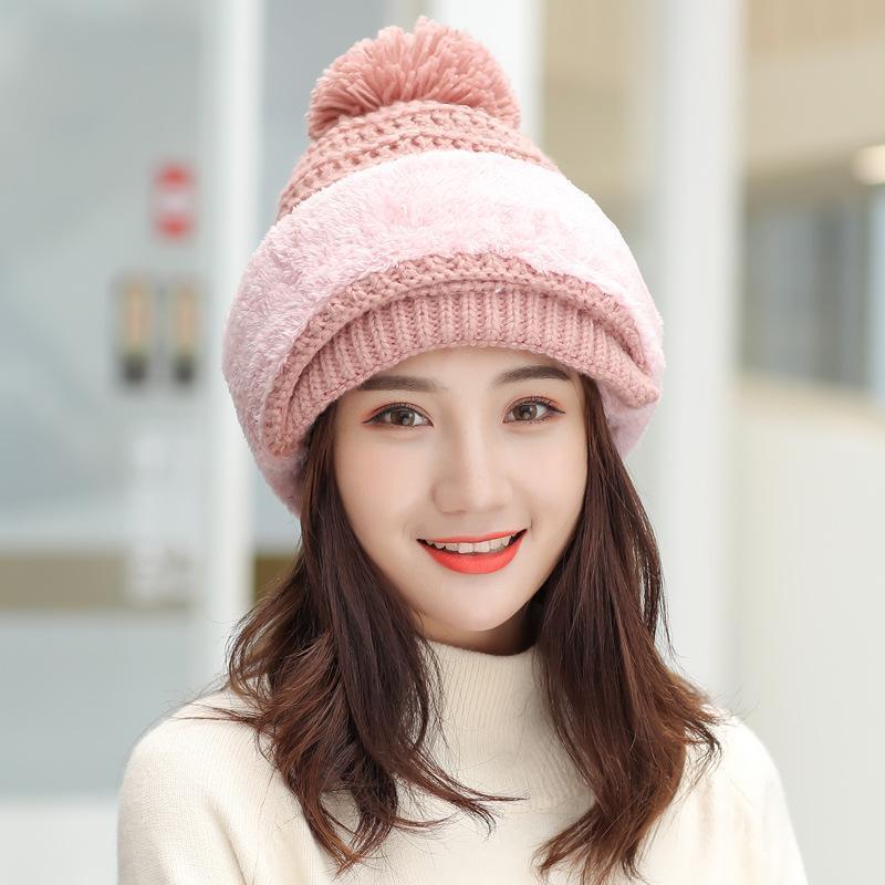 Malha de 2020 Hot Mulheres Hat Scarf Caps Neck Warmer Chapéus de Inverno para as Mulheres Homens Skullies Gorros lã quente Cap 5 cores