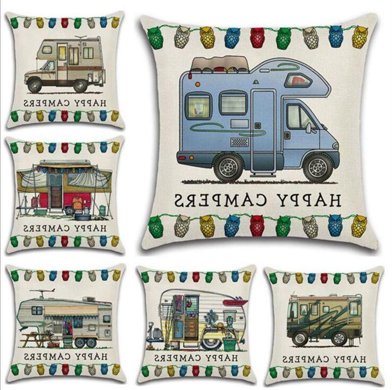 Happy Campers Pillow Case Linen Square Throw Pillows Cover Sofa Cushion Covers With Zipper Closure Home Decoration 20 Designs