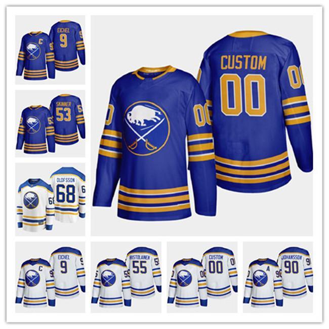 Buffalo Sabres 2020-21 9 personalizada Jack Eichel 68 Victor Olofsson 53 Jeff Skinner 55 Rasmus Ristolaine casa Fuera Volver a Royal jerseys del hockey