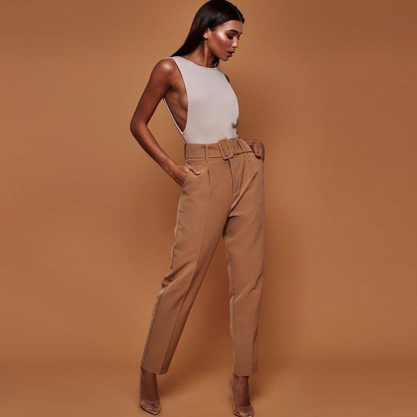 Casual Pants High Waist Belted Straight Leg Slacks Office Lady Suit Pants Women Trousers 200930