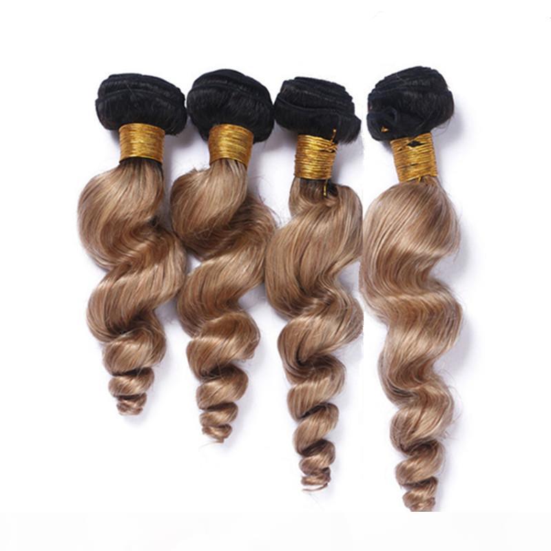 #1B 27 Honey Blonde Ombre Brazilian Human Hair Weave Bundles Dark Root 4Pcs Loose Wave Wavy Light Brown Ombre Virgin Hair Weft Extensions